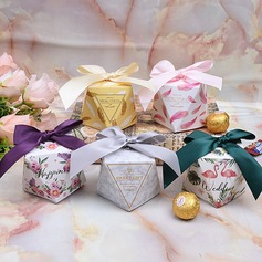 Lovely/Simple/Nice/Diamond Design diamond shape paper Favor Boxes With Ribbons (Set of 12) (050173166)