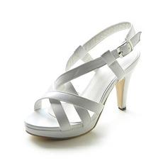 Women's Leatherette Stiletto Heel Sandals Platform Slingbacks With Buckle shoes (087013052)
