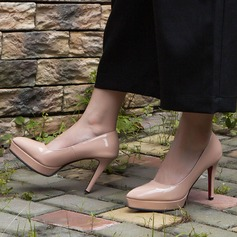 Женщины кожа Высокий тонкий каблук Закрытый мыс Платформа На каблуках (047140847)
