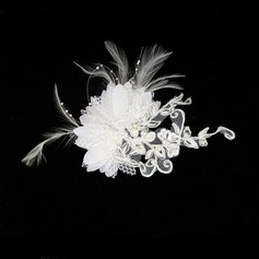 Gorgeous Feather/Lace Combs & Barrettes/Flowers & Feathers With Venetian Pearl (042012232)