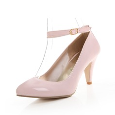 Patent Leather Cone Heel Pumps Closed Toe With Buckle shoes (085059489)