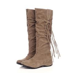 Suede Low Heel Knee High Boots shoes (088059493)