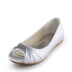 Women's Satin Flat Heel Peep Toe Sandals With Rhinestone (047014110)