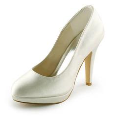 Женщины Атлас Высокий тонкий каблук Закрытый мыс Платформа На каблуках (047008119)
