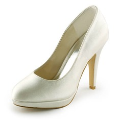 Women's Satin Stiletto Heel Closed Toe Platform Pumps (047008119)
