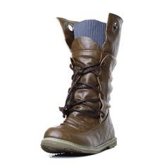 ea175d6e08e Kvinner Lær Flat Hæl Lukket Tå Mid Leggen Støvler med Flettet Stropp sko  (088095972)