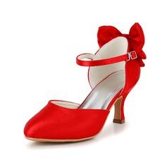 Женщины Атлас Высокий тонкий каблук Закрытый мыс На каблуках с бантом (047039753)