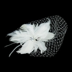 Gorgeous Feather/Tulle Flowers & Feathers With Rhinestone (042026526)