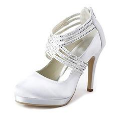 Women's Satin Cone Heel Closed Toe Platform Pumps With Rhinestone Zipper (047020114)
