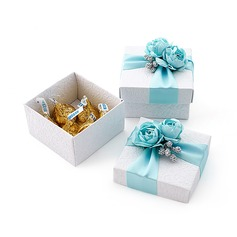 Lovely Cuboid Favor Boxes With Flowers/Ribbons (Set of 12) (050013928)