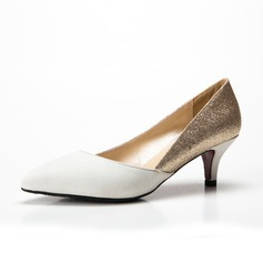 Women's Suede Sparkling Glitter Low Heel Pumps Closed Toe shoes (085085028)