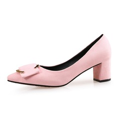 Women's Suede Chunky Heel Pumps Closed Toe shoes (085087452)