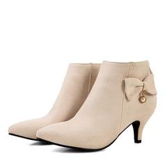 Женщины Замша Низкий каблук Ботинки Закрытый мыс с бантом (047185277)