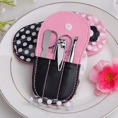 Elegant Stainless Steel Manicure Kit With Pink Polka Dot Flip Flop Case (051049449)